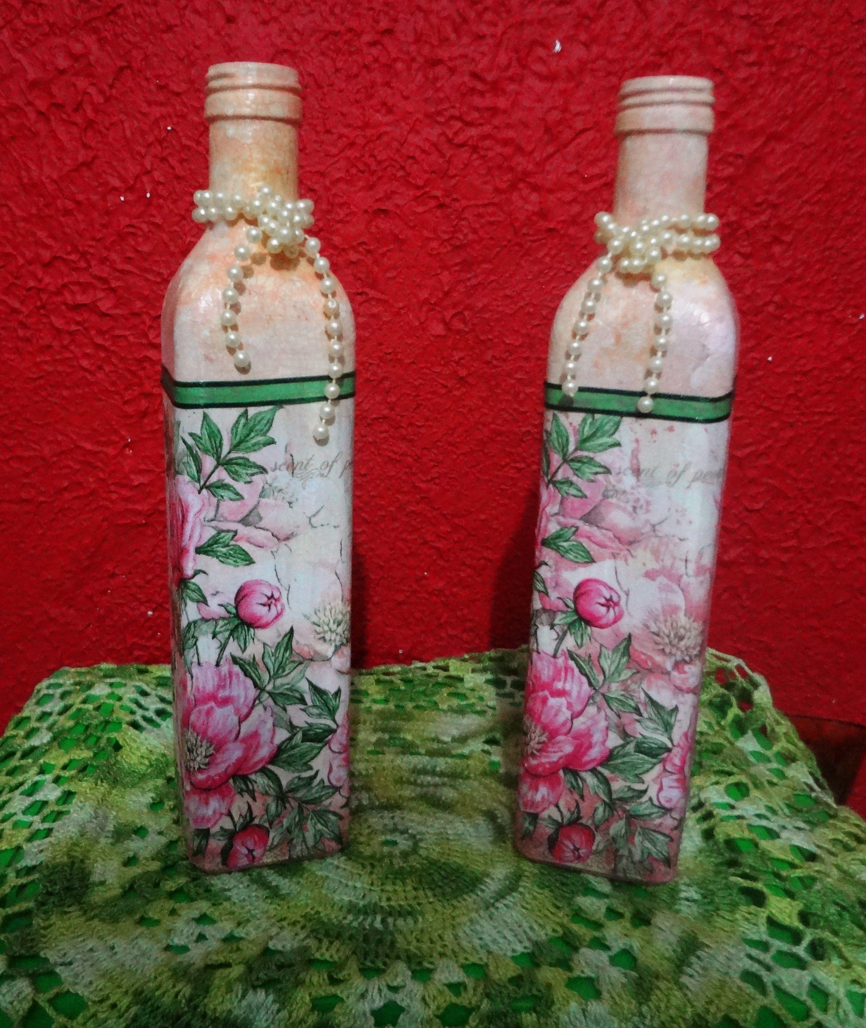 Garrafas Gemeas Garrafas Decoradas Garrafas Recicladas Reciclar Garrafas De Vidro