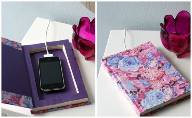 Make your phone charger look like it's just part of your bedtime reading routine by carving a cubby in a patterned notebook. It'll make your nightstand look neat and pretty. Get the tutorial at Caught on a Whim »  - GoodHousekeeping.com