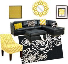 Black Grey And Yellow With Black Leather Couch   Google Search More