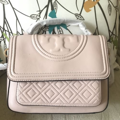 e977dfdcf360 Authentic Tory Burch Fleming Satchel Shell Pink NWT  498.