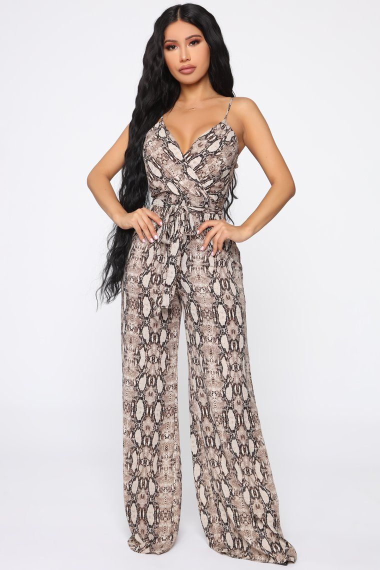 Vilma Snake Print Jumpsuit Brown Fashion Black Lace Jumpsuit Fashion Nova Dress [ 1140 x 760 Pixel ]