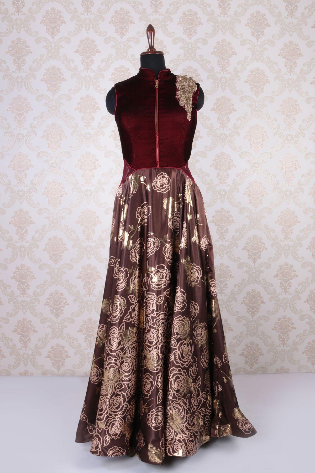 #Brown multicoloured #velvet & #satin sleeveless printed beauteous #kameez with high neck -SL4402