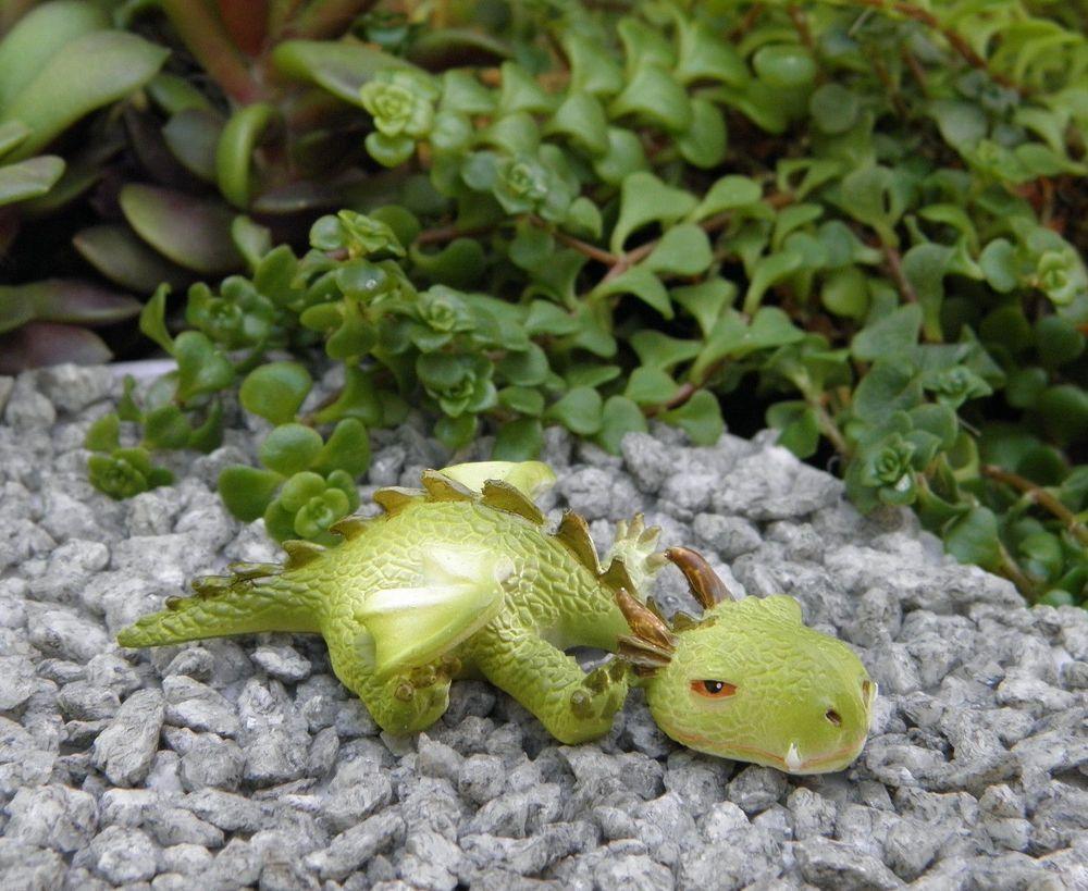 Miniature Dollhouse FAIRY GARDEN ~ Sleepy Mini Dragon Figurine ~ NEW ...