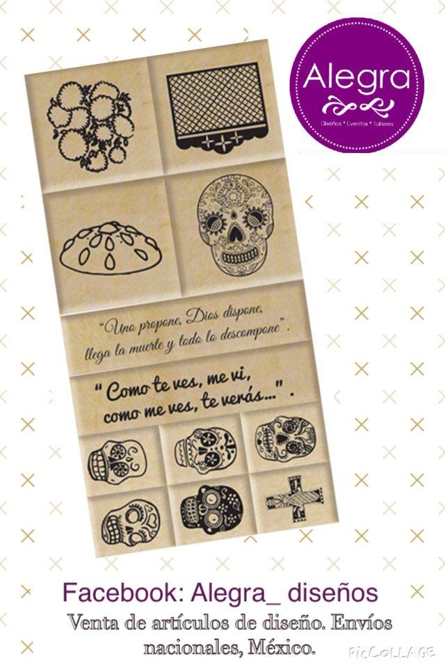 Sellos Día de muertos : calaveras, pan de muerto, papel picado, flores, calavera, catrina  Facebook: Alegra_ diseños  Venta de sellos y tintas. Envíos nacionales México.