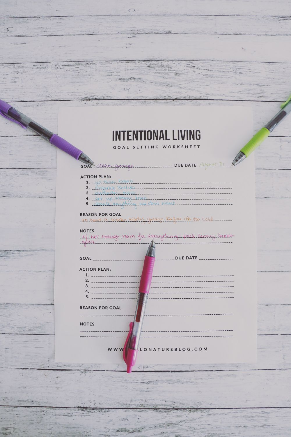 Intentional Living Goal Setting Worksheet Printable  Goal Setting