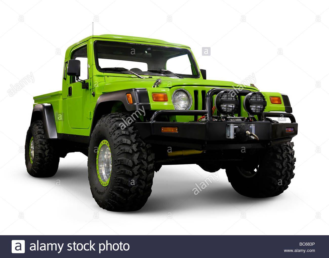 Custom jeep wrangler tj with large wheels stock photo royalty
