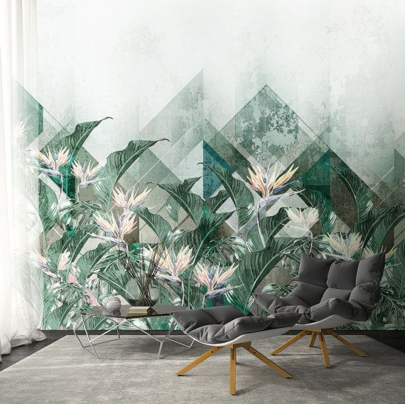 Floral Wallpaper,Palm Leaves Wallpaper , Self adhesive hawaii, Temporary Wallpaper, Loft design,Removable wallpaper, Mural Wallpaper  DESIGN: - You like the pattern but it seems too large or too small? No problem, we will customise its size as you wish. This service is free of charge too.  - You like the wallpaper design but have not found the needed colour in the offered range? Specially for you we will change the colour of the print you like. Such service is totally free of charge…