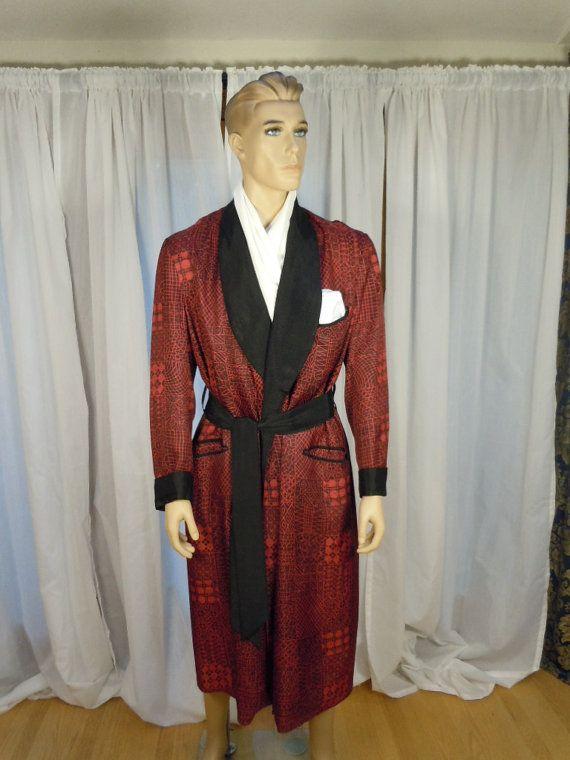 Vintage 1950\'s Men\'s Smoking Robe Red/Black Heavy Brocade Rayon ...