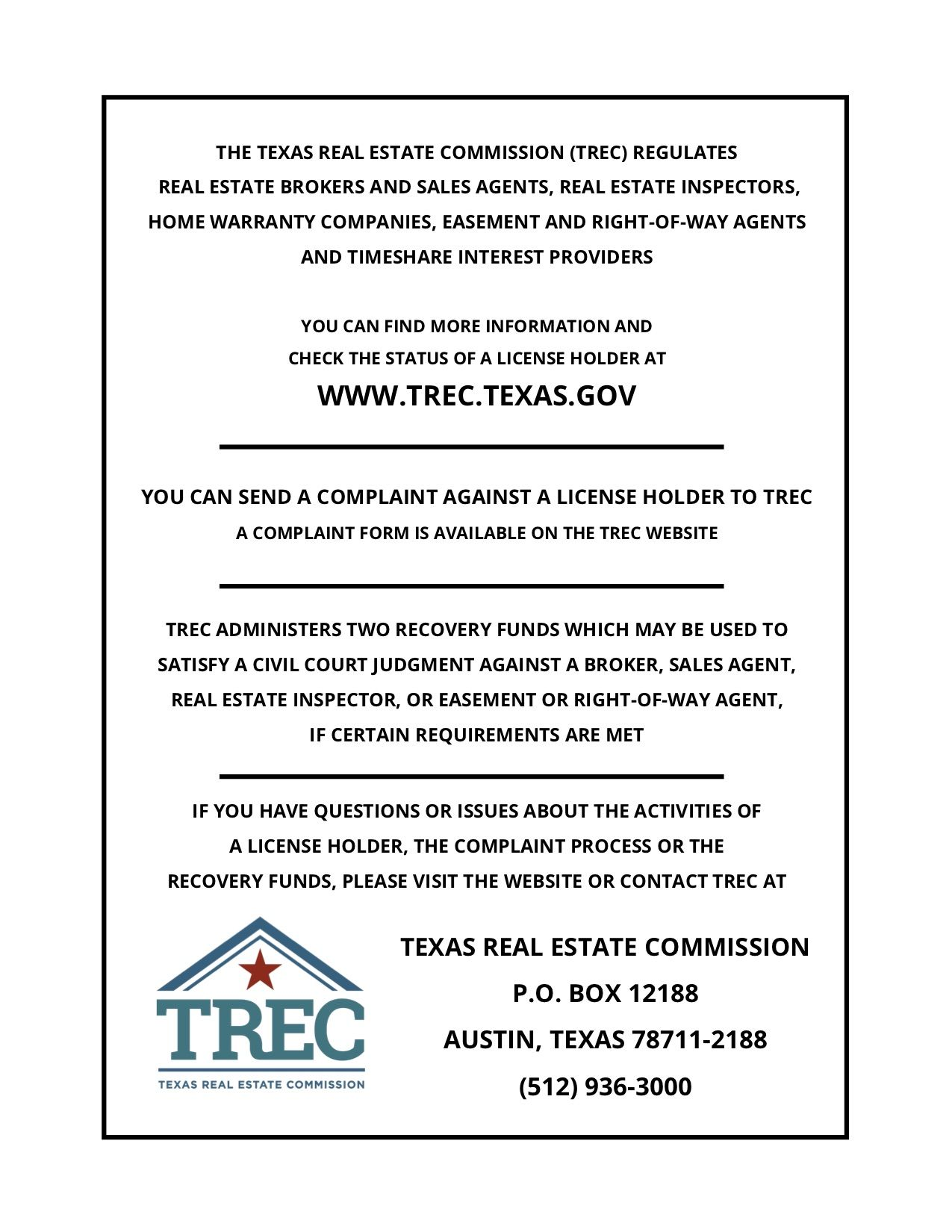 Trec consumer protection notice real estate home