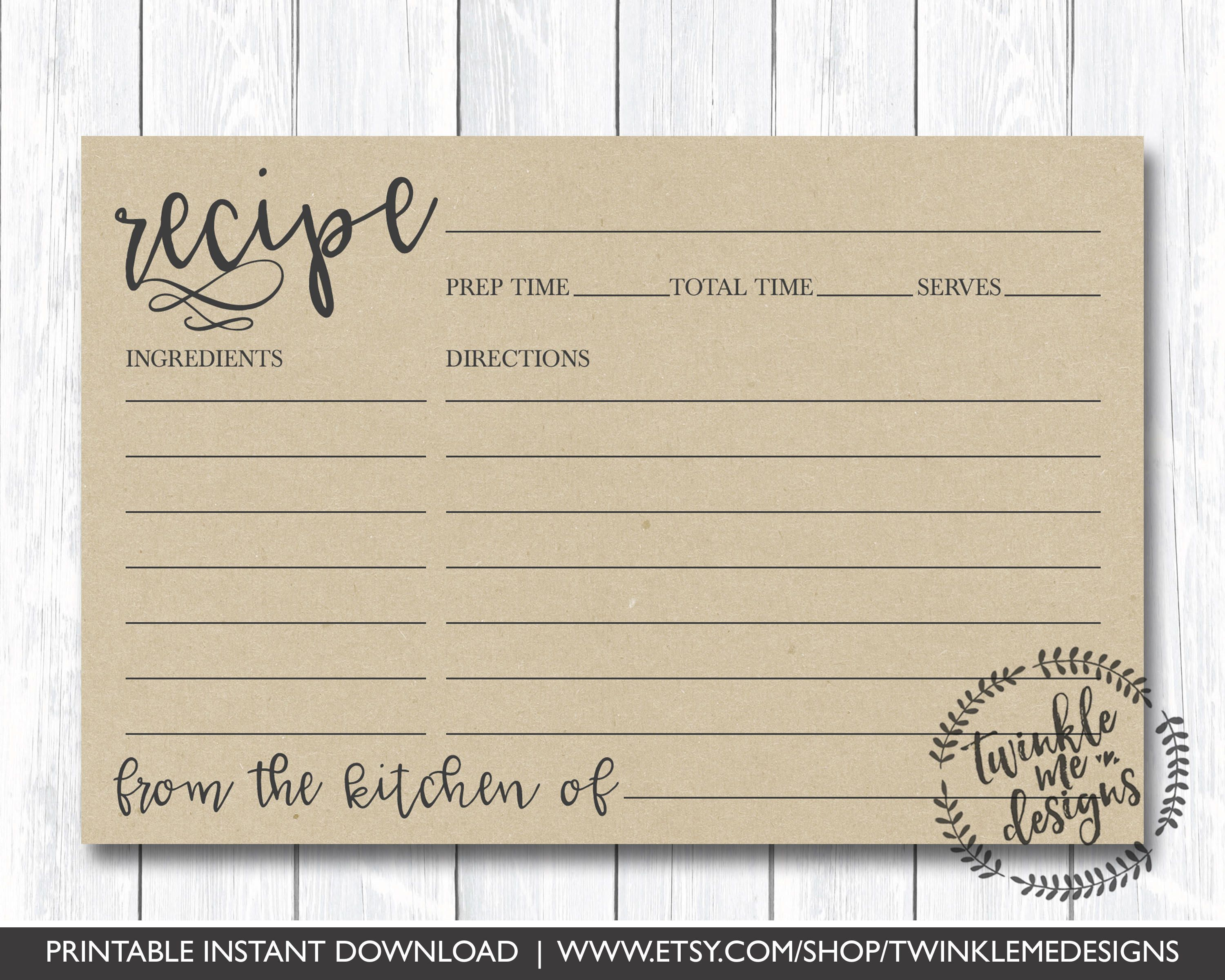 Recipe Card Printable Printable Recipe Card Diy Recipe Cards 4x6 Recipe Card Bridal Shower Recipe Card Pdf Instant Download Kraft Diy In 2021 Bridal Shower Recipes Cards Diy Recipe Cards Recipe