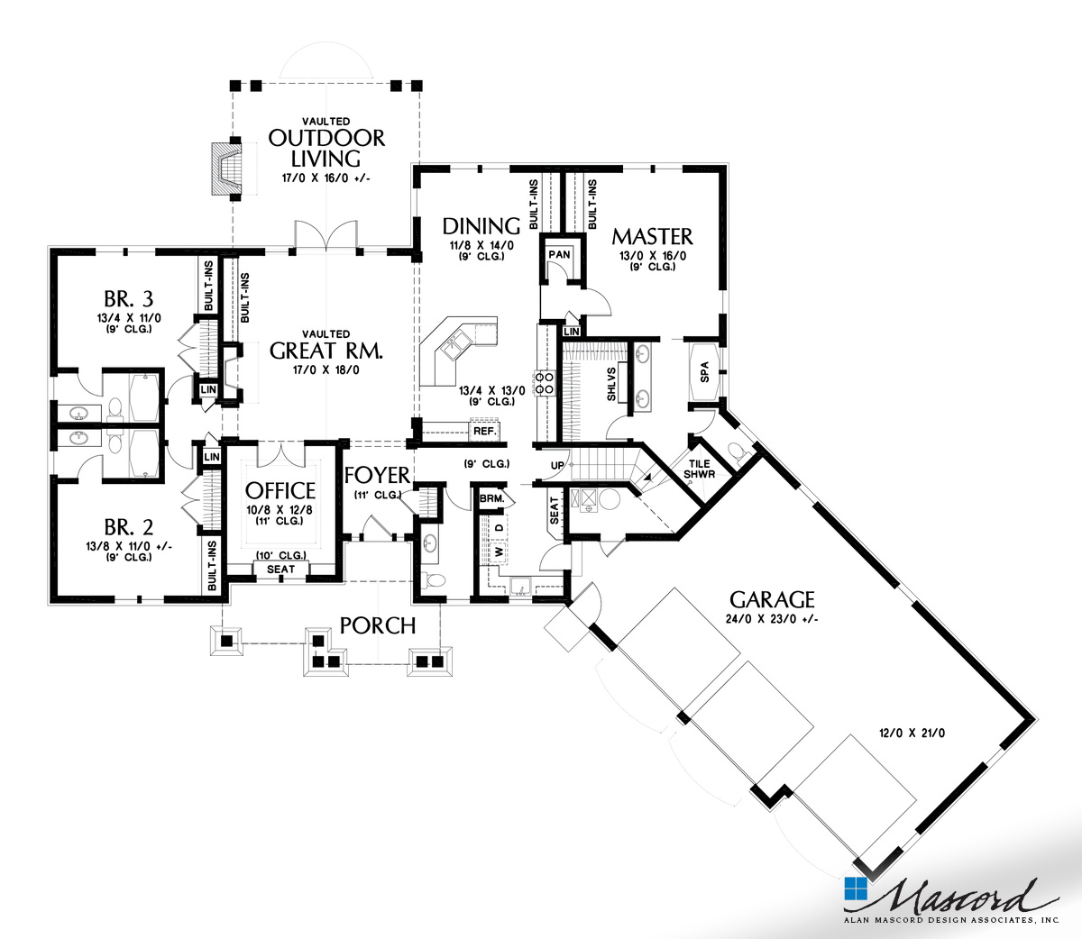 Main Floor Plan Of Mascord Plan 1248b The Vasquez Third Car Bay Addition To The Ripley House Plans New House Plans Cottage House Plans