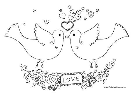 Valentine doves colouring page