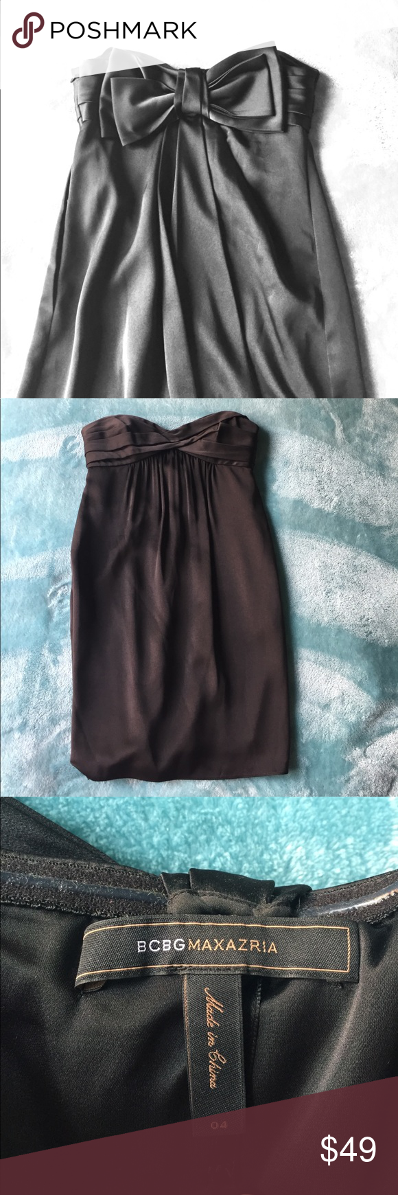 BCBG Silk Bow LBD party dress | Black silk, Silk and Bcbg dresses
