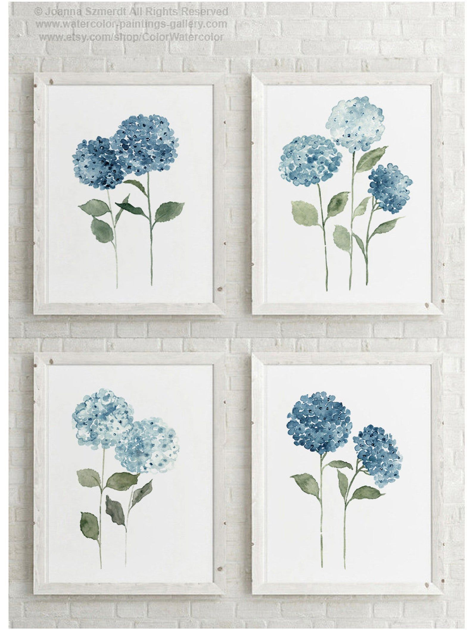 Blue Hydrangea Flowers Set 4 Watercolour Drawings Colorful Botanical Motive Modern Bedroom Decoration Scandinavian Nature Style Home Art Hydrangeas Art Hydrangea Painting Watercolour Drawings