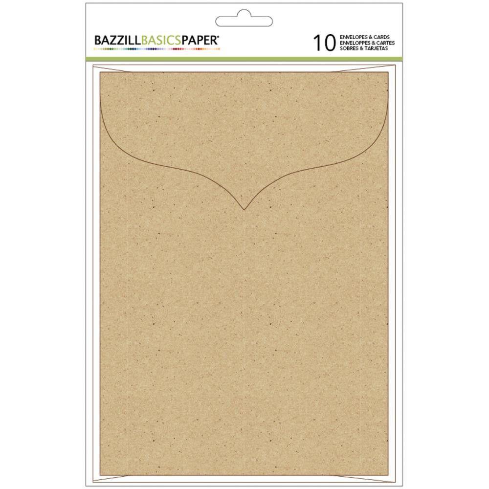 "Bazzill Basics: 10 Sets Kraft 5"" x 7"" Blank Cards & Fancy Envelopes, for Handmade Cards"