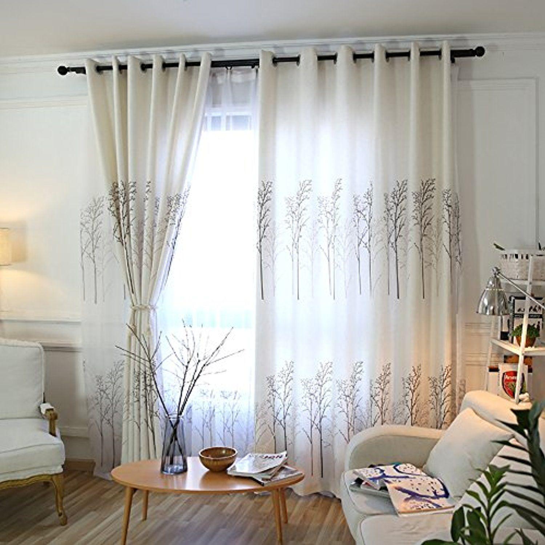White Linen Tree Branch Curtain - KoTing 1 Panel Brown Tree Drape ...