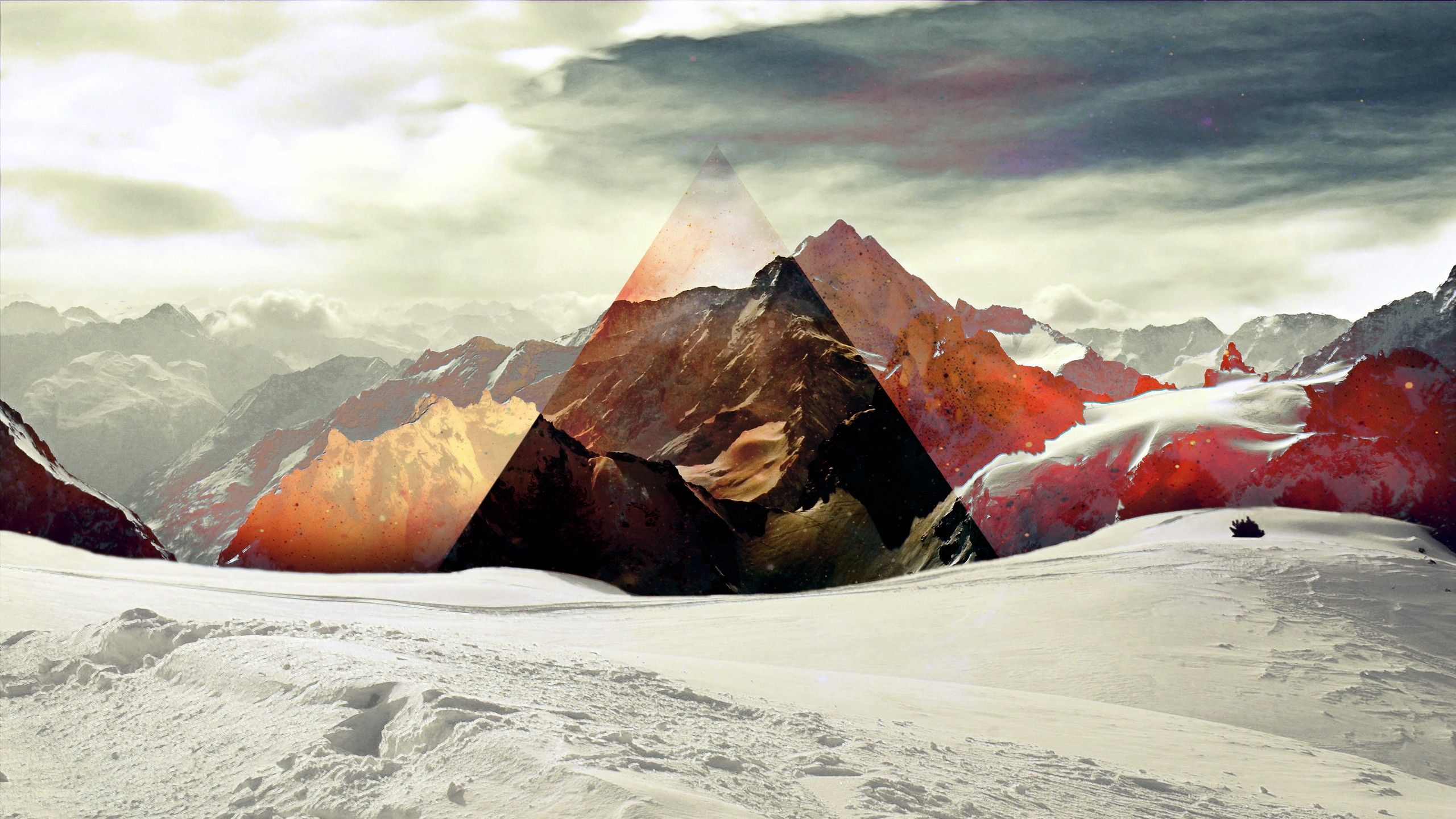 Triangle Snow Abstract mountains sky wallpaper 2560x1440