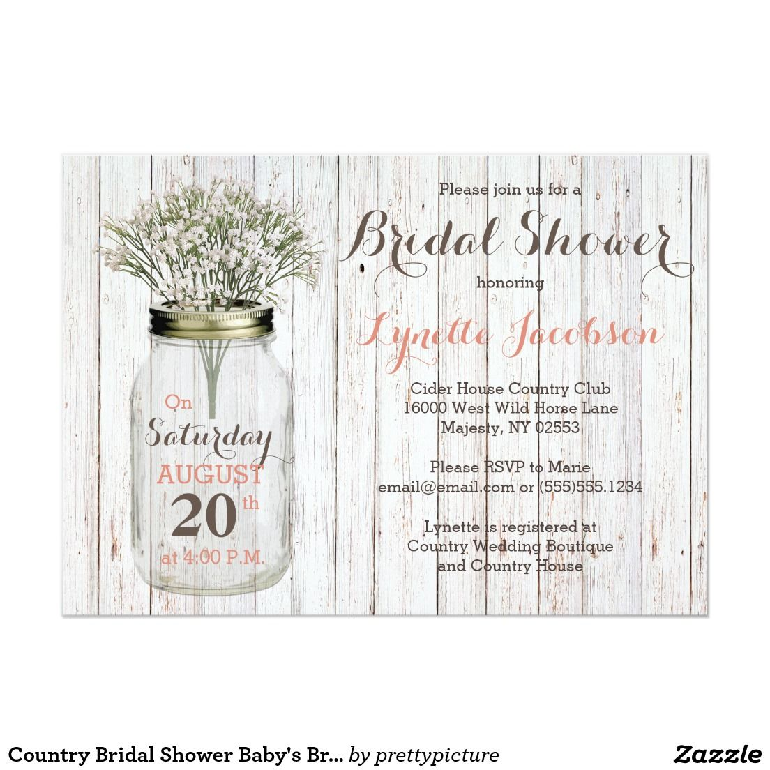 Country Bridal Shower Baby's Breath Pink Card