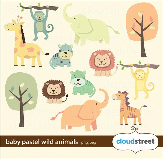 Buy 2 Get 1 Free Baby Pastel Wild Animals Clipart For Personal And Commercial Use Cute Animal Clip Art Vect Animals Wild Animal Clipart Animal Clipart Free