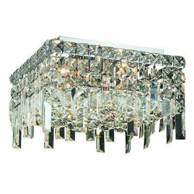 Elegant Lighting Maxim 5 Light Semi Flush Mount Crystal Grade: Strass Swarovski