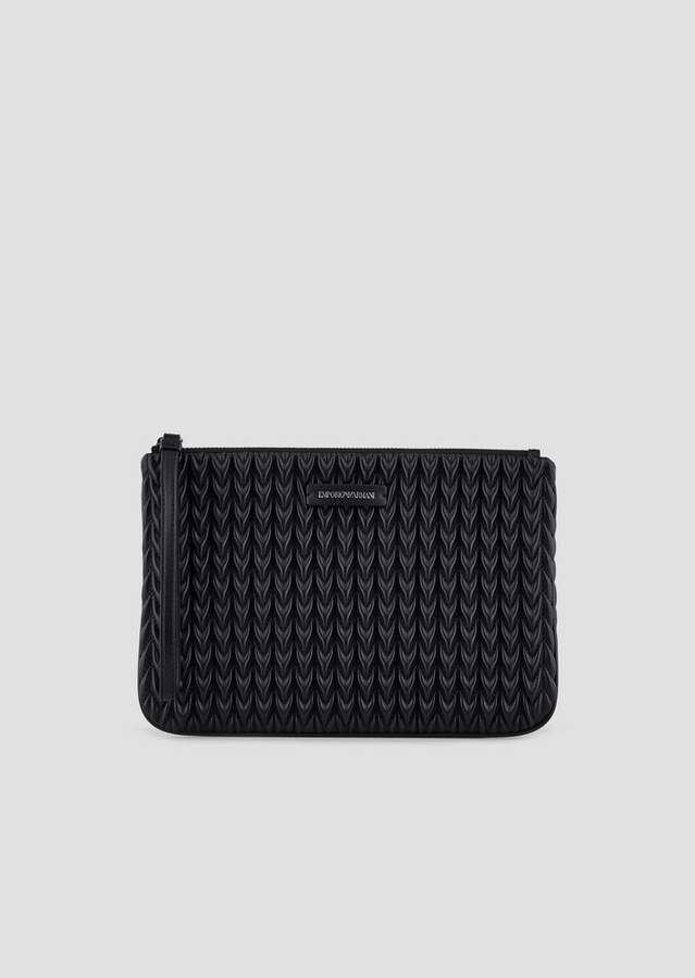 for whole family lace up in newest Emporio Armani Clutch With Tie And Quilted Drop Motif ...