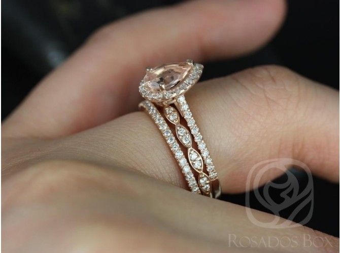Rosados Box Tabitha 8x6mm and Christie Rose Gold Pear Morganite and ...