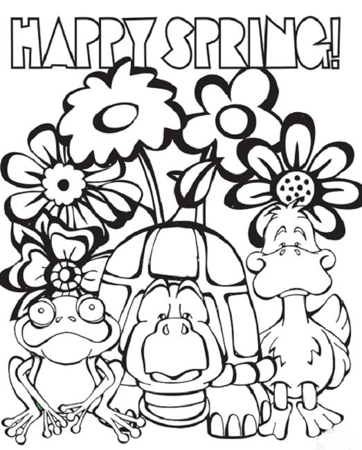 free happy spring coloring pages Spring coloring pages