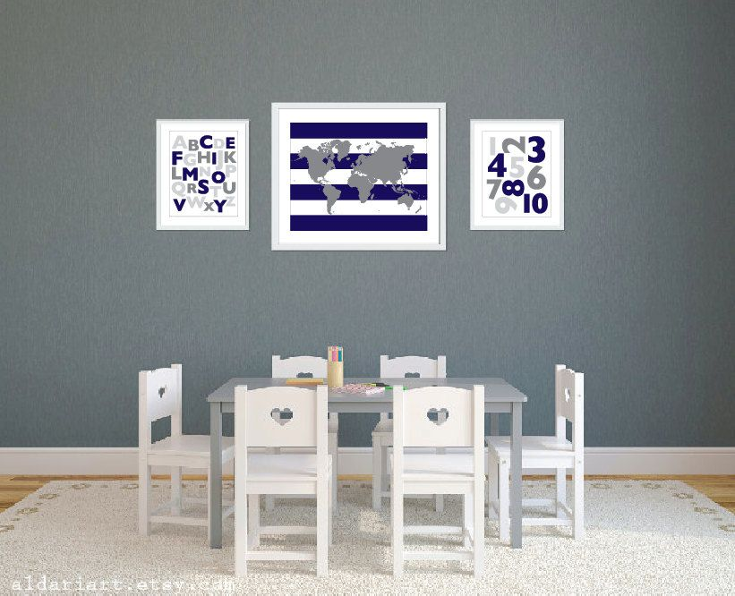 World map alphabet and numbers art prints navy and grey nursery world map alphabet and numbers art prints navy and grey nursery decor modern playroom gumiabroncs Image collections