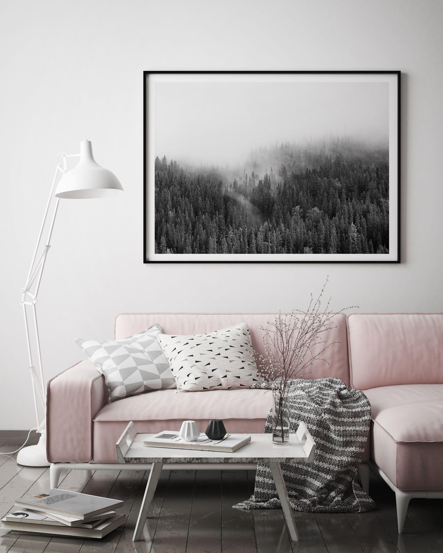 Misty Forest Art | Large Framed Wall Art | Scandinavian | Nordic ...