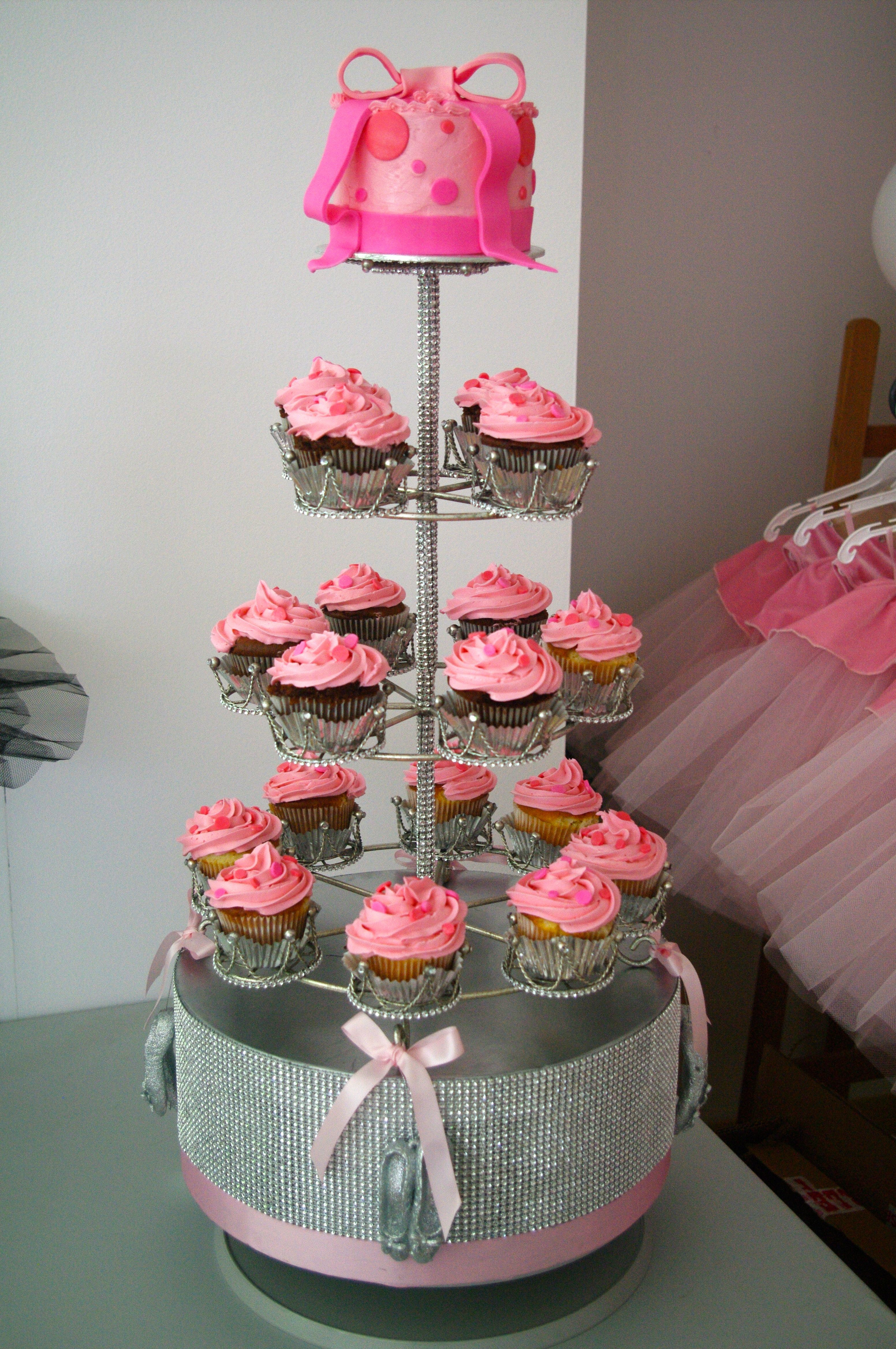 Ballet Birthday Cake with Vanilla & Chocolate Cupcakes