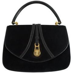 Gucci Vintage Black Suede Top Handle Bag With Leather - 1950s - Ghw ghI6vOm