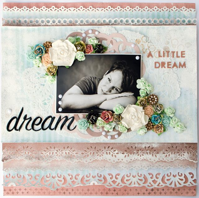 Layout made at ProzArt event (workshop by Karola Witczak). Elina Stromberg #scrapbooking