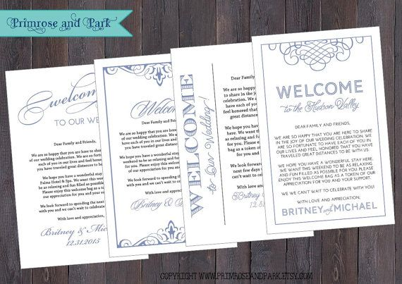 Wedding Welcome Bag Letter Note And Wedding Itinerary Or