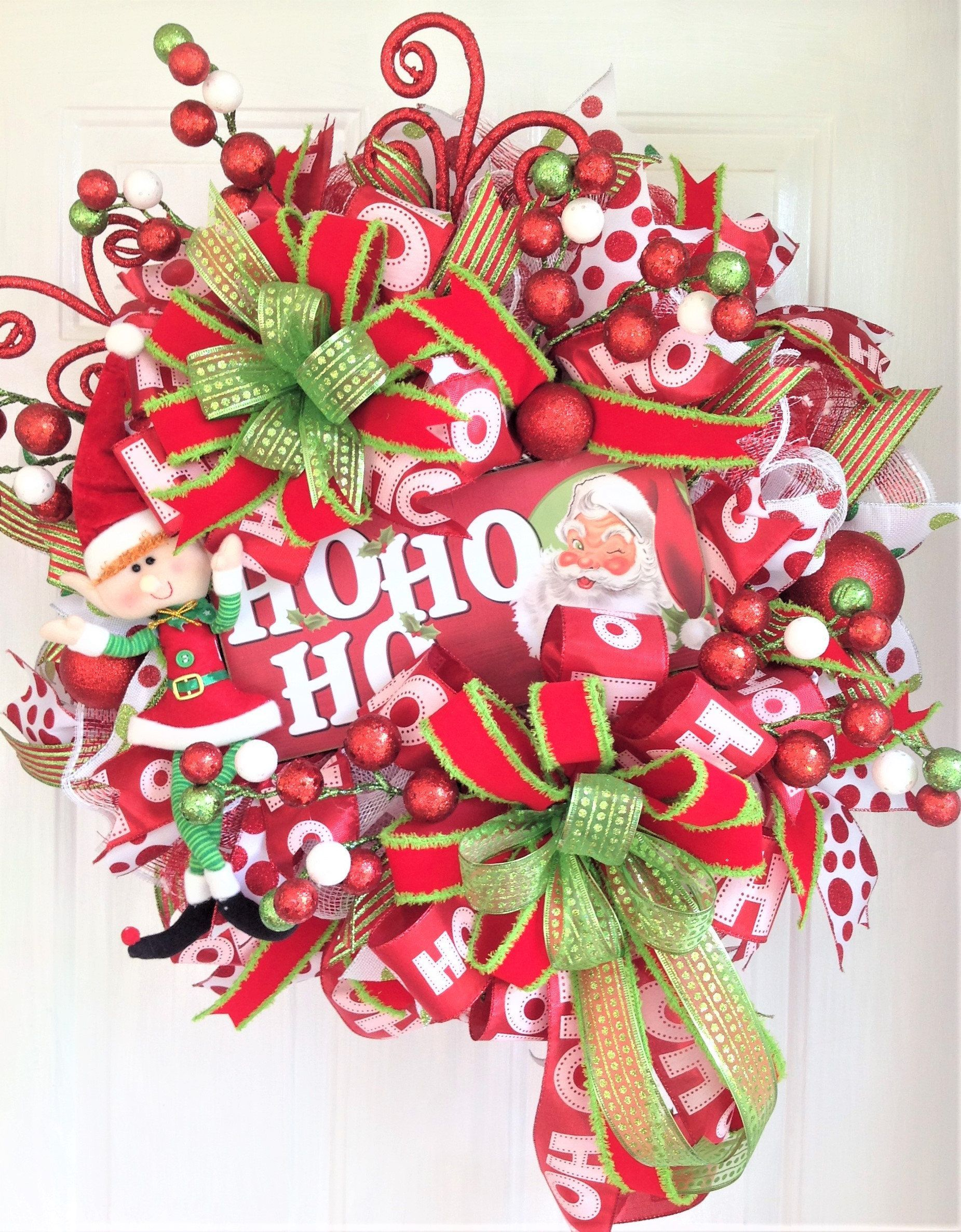 Christmas Wreath For Front Door, Santa Door Wreath, Holiday Wreath With Santa and Elf, Christmas Door Hanger, Christmas Door Decoration #christmasdoordecorationsforwork Christmas Wreath For Front Door, Santa Door Wreath, Holiday Wreath With Santa and Elf, Christmas Door Hanger, Christmas Door Decoration, Holiday Wreath For Front Door, Christmas Wreath With Santa and Elf, Red and Green Christmas Wreath Your door will look stunning this Christmas season with this beautiful holiday wreath designed #halloweendoordecorations