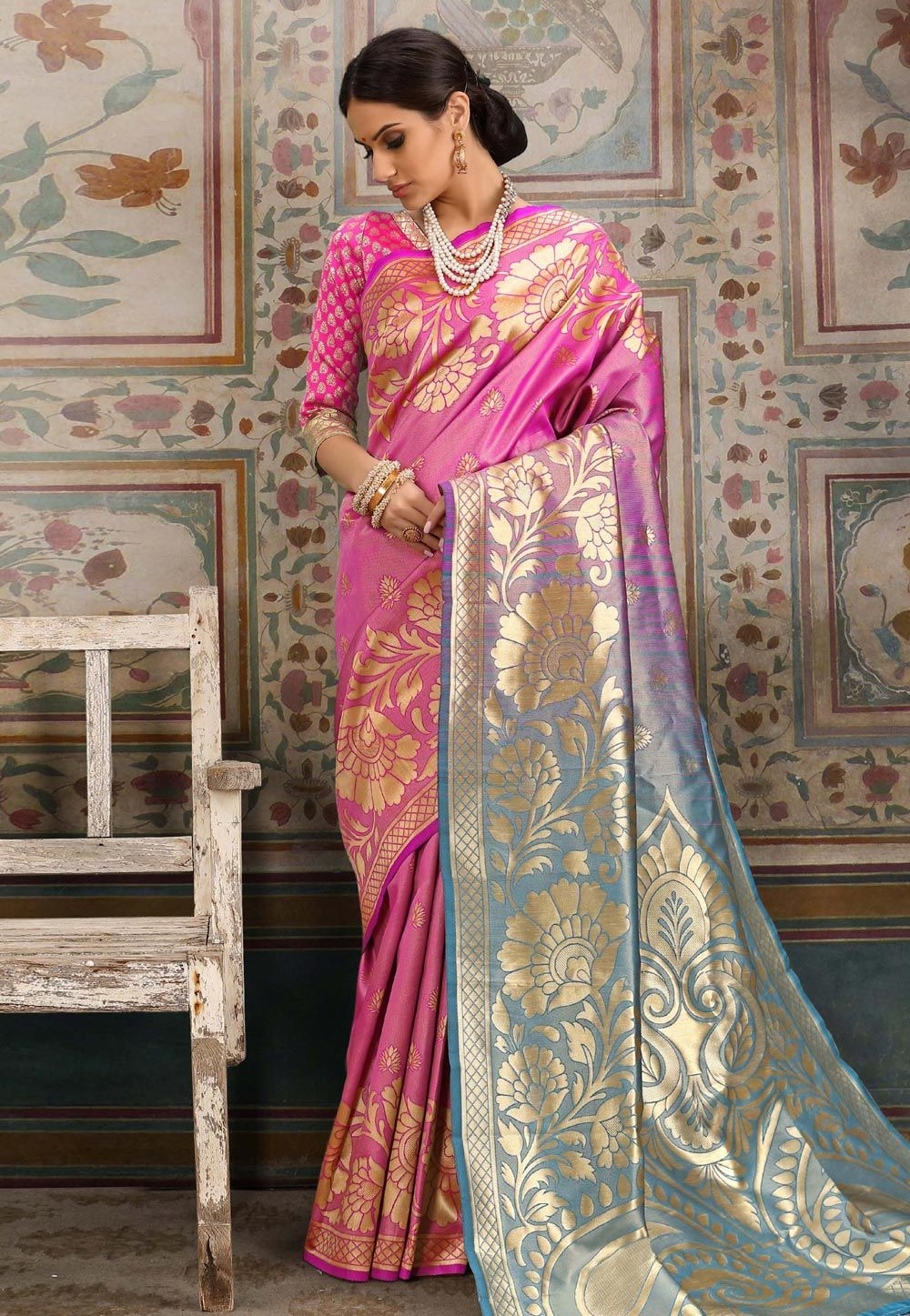 06acca7baa Buy Pink Kanjivaram Silk Saree With Blouse 168353 with blouse online at  lowest price from vast collection of sarees at Indianclothstore.com.