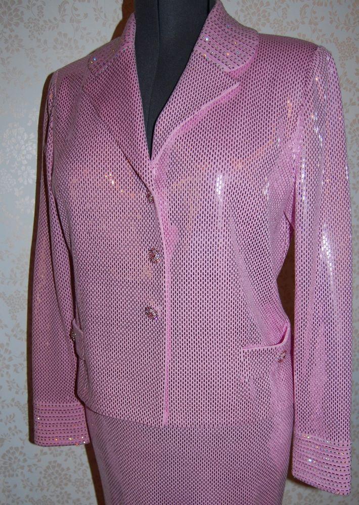 NEW St John Evening Marie Grey Pink Shimmer Sequin Suit Jacket Skirt 10 Pailette #StJohn #SkirtSuit
