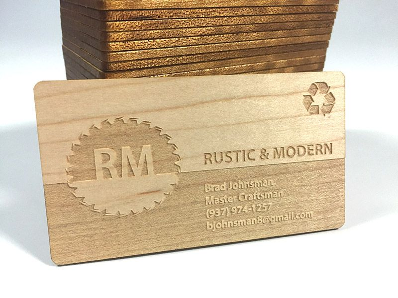 Reverse Engrave Wood Business Card Wooden Business Card Wood Business Cards Diy Business Cards