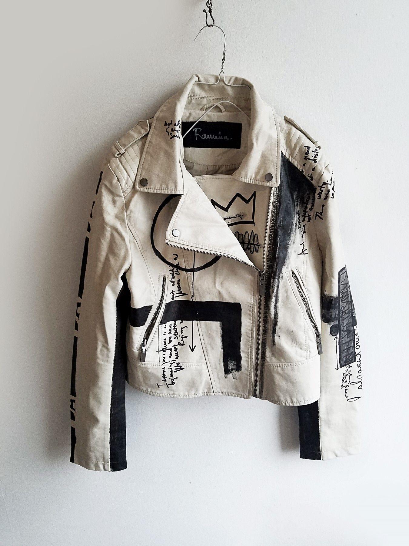 DADA hand painted off white jacket Custom leather