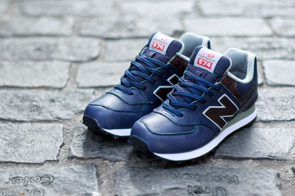 new balance 574 leather all navy