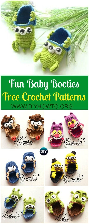 e10f23b6f898 Fun Crochet Baby Booties Free Patterns By Kamila Krawka  Crochet Monster