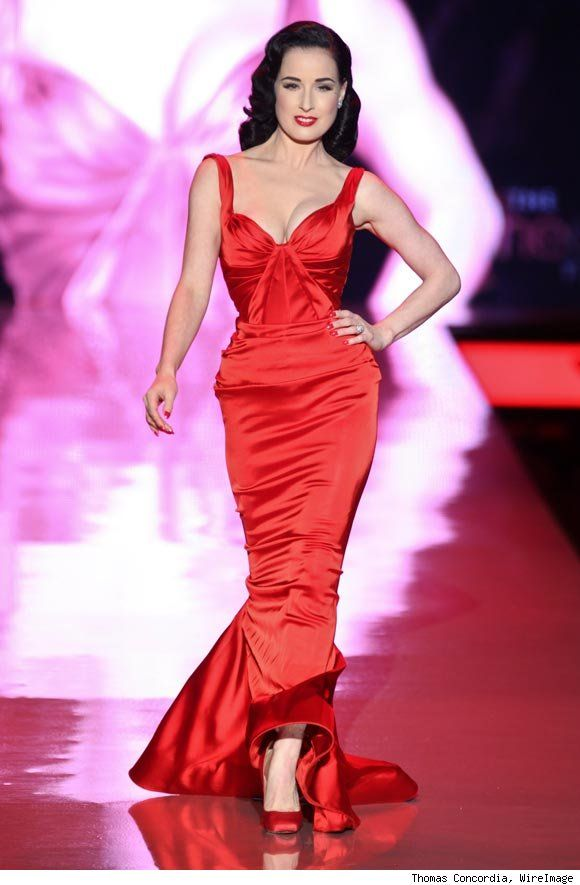 Dita Von Teese gown at the Heart Truth Fall 2011 fashion show