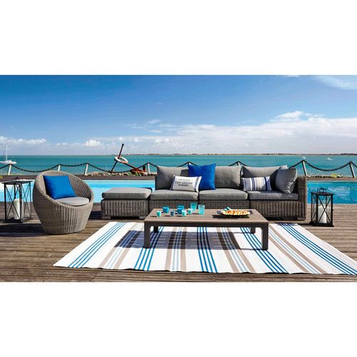 tapis d 39 ext rieur en polypropyl ne beige et bleu 180 x 270 cm cancale maison pinterest. Black Bedroom Furniture Sets. Home Design Ideas