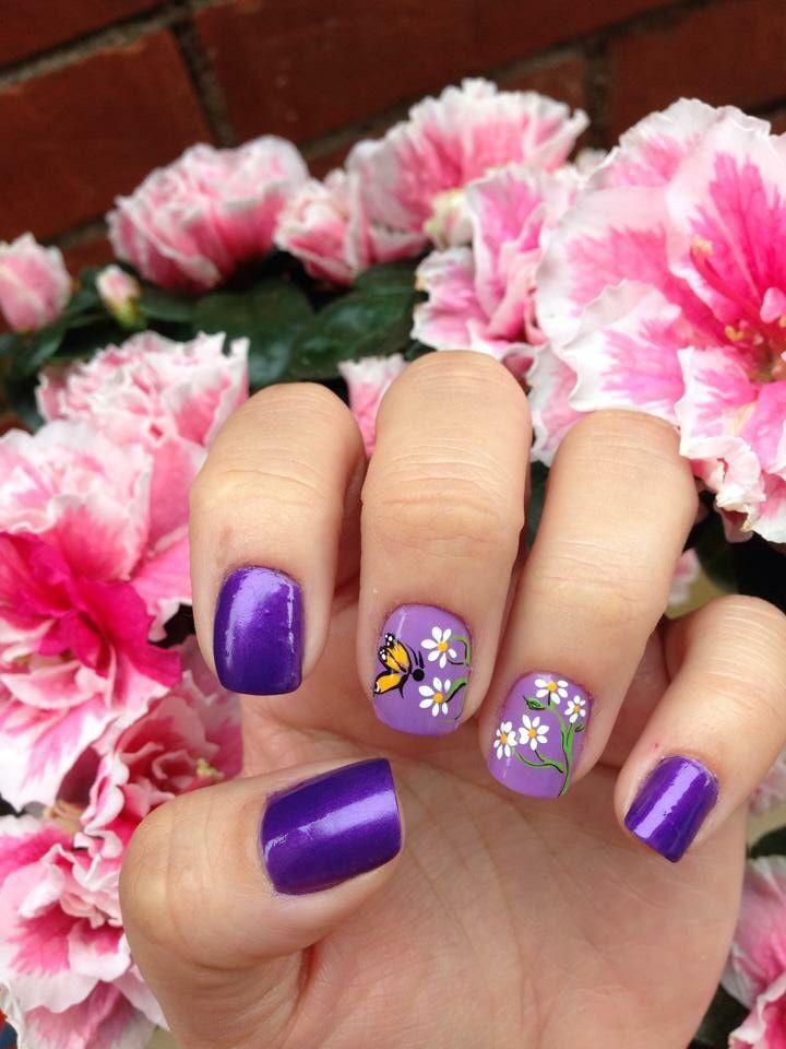 uñas lila morado flores blancas | Uñas diseños flores fáciles ...