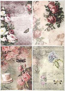 Papel De Arroz Para Decoupage Decopatch Scrapbook Craft Hoja A//3 Vintage Rose Bouque