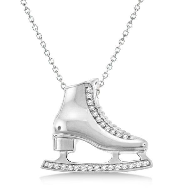 Diamond accented ice skate pendant necklace 14k white gold 026ct diamond accented ice skate pendant necklace 14k white gold 026ct allurez aloadofball Gallery
