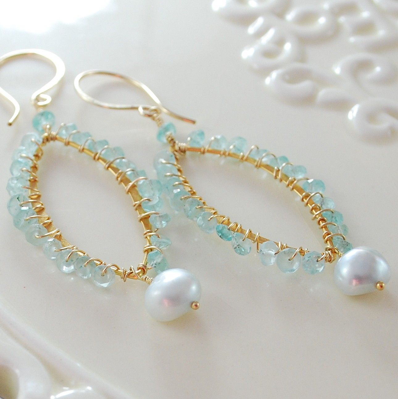 Apatite Earrings Wire Wrapped Marquise Pale Aqua Tiffany Blue ...