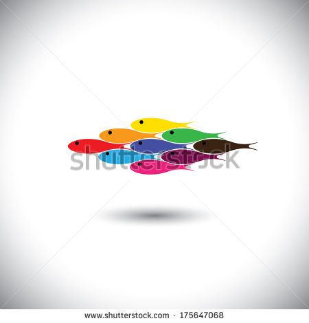 Colorful fishes swimming together - unity & solidarity concept vector . This graphic can be representative of tourism & travel destination of an exotic tropical place, aqua & adventure water sports - stock vector