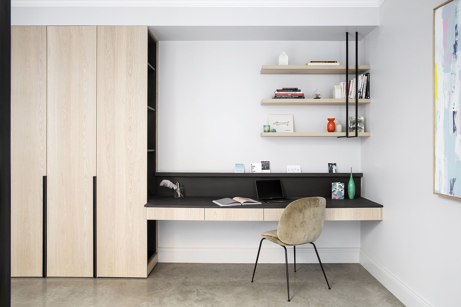 Fitted study at Hay House including bespoke steel shelving