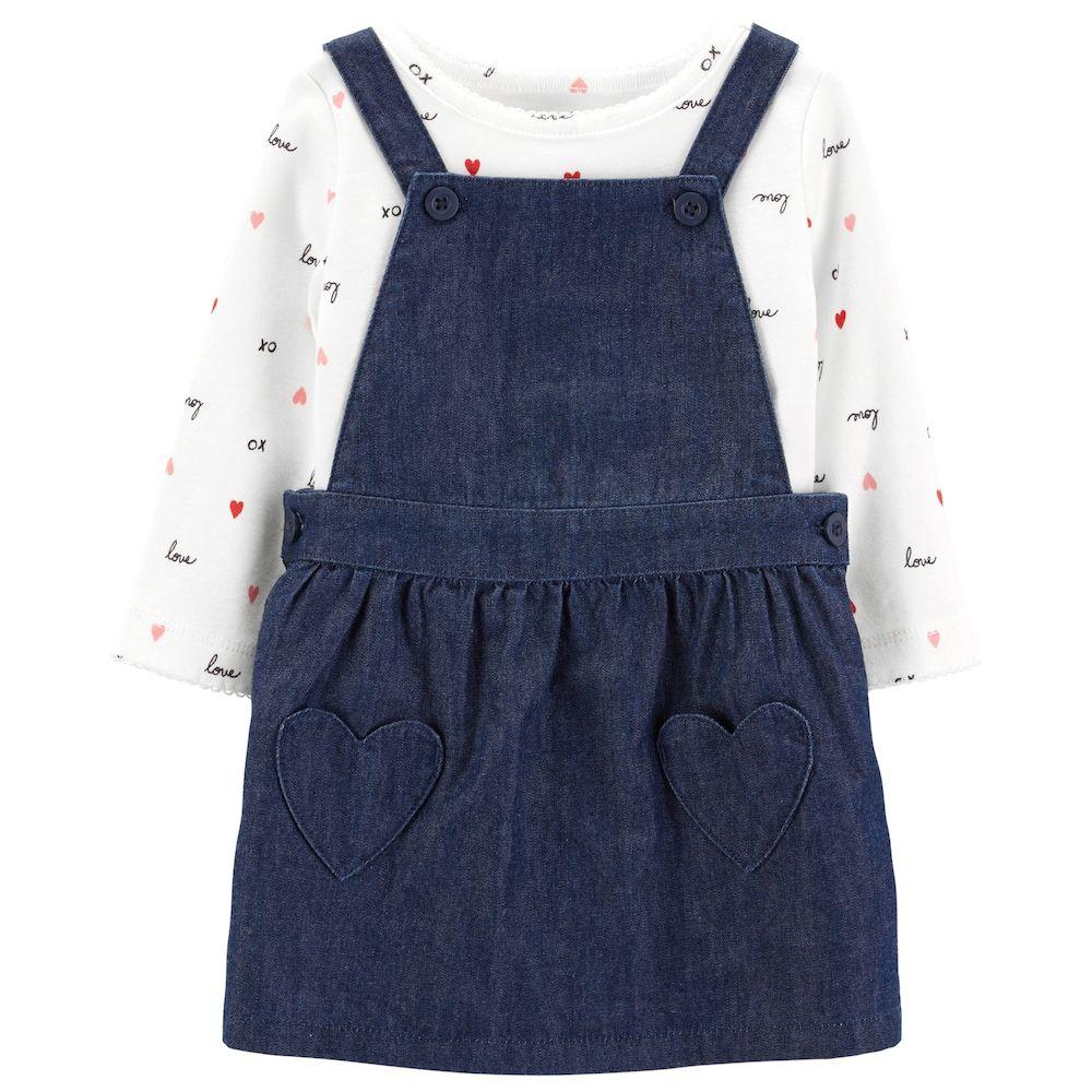 636b8cd14d Baby Girl Carter s Heart Print Bodysuit   Denim Jumper Set