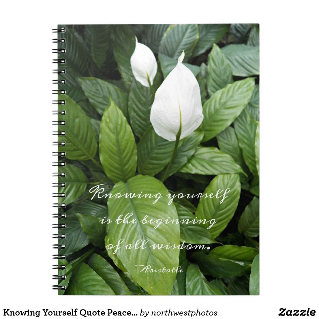 Aristotle Quote Peace Lily Floral Photo Notebook Zazzle